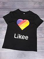 """Футболка детская """"Likee"""" для девочек. Размеры 128-152 .Чёрный. Оптом"""