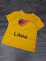 """Футболка дитяча """"Likee"""" для дівчаток. Розміри 128-152 .Жовтий. Оптом"""