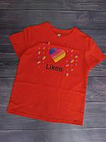 """Футболка дитяча """"Likee"""" для дівчаток. Розміри 128-152 .Червоний. Оптом"""