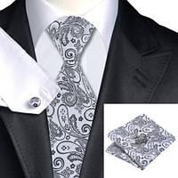 Комплект шелковый галстук, запонки, платок 0759, фото 1