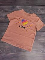 """Футболка детская """"Likee"""" для девочек. Размеры 128-152. Бледно-розовый. Оптом"""