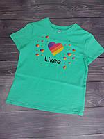 """Футболка дитяча """"Likee"""" для дівчаток. Розміри 128-152. Бірюзовий. Оптом"""