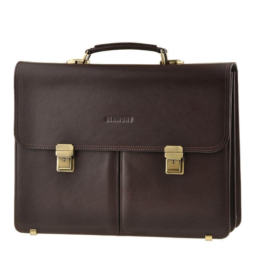 Портфель мужской кожаный коричневый с замками Blamont Bn063C