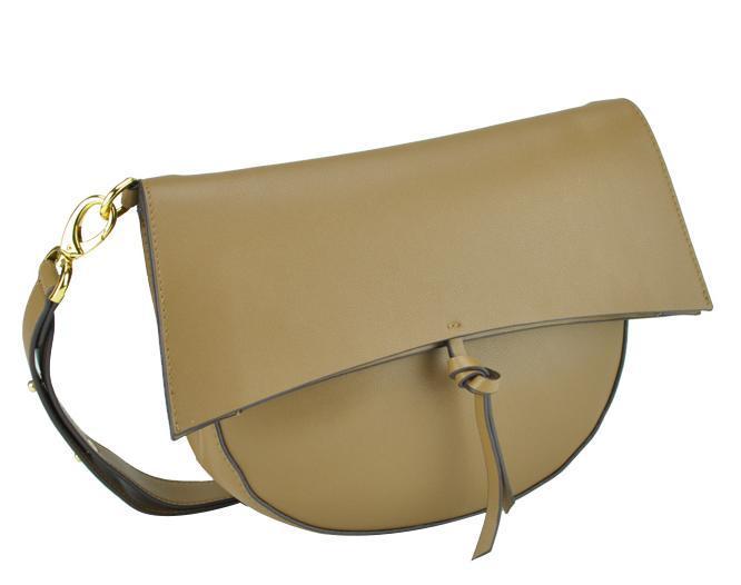 Женская кожаная сумка полумесяц фолдовер коричневая UnaBorsetta W12-830S-LB