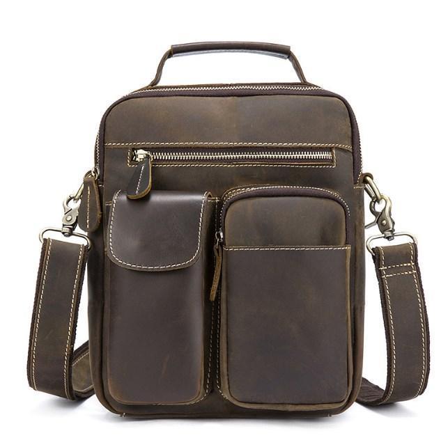 Мужская сумка-барсетка кожаная с ручкой и съемным ремнем Tiding Bag t1171