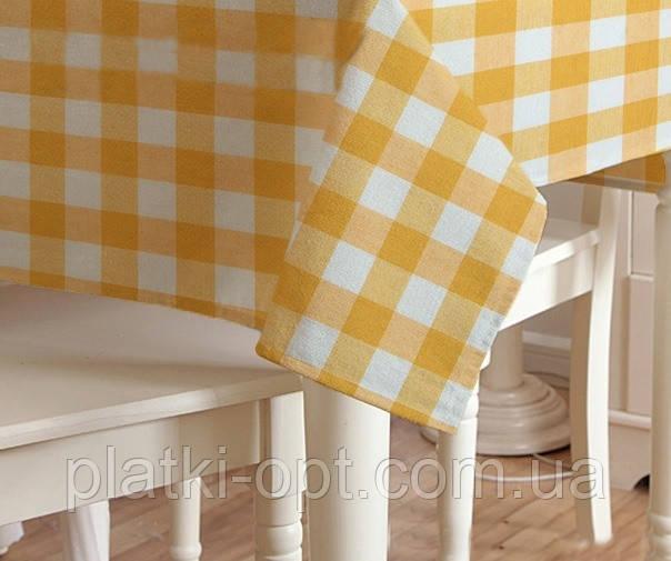Скатерть клетка Пепита крупная желтая 1.5м х 1.2м (кухонный стол)