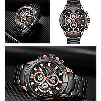 Часы наручные кварцевые мужские водонепроницаемые противоударные Naviforce NF9165 Black-Cuprum Оригинальные