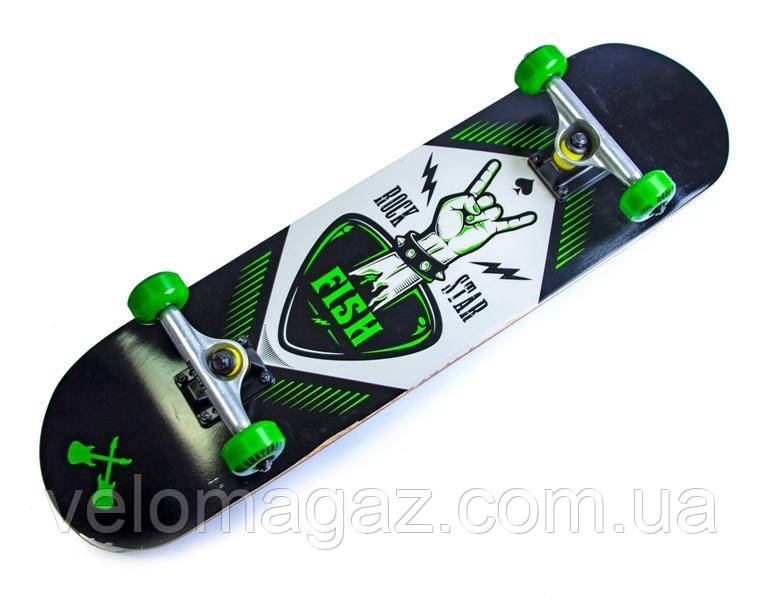 Деревянный скейтборд FISH SKATEBOARD ROCK STAR, 79*20 см, клён