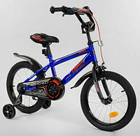 """Велосипед 16"""" дюймов Corso EX-16 N 2457 СТАЛЬНАЯ РАМА, ручной тормоз, доп. колеса"""