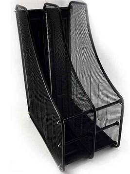 Лоток для бумаг вертикальный металлический 2 отделения 2537 черный