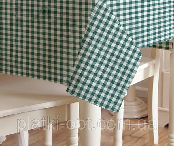 Скатерть клетка Пепита мелкая зеленая 1.5м х 1.2м (кухонный стол)