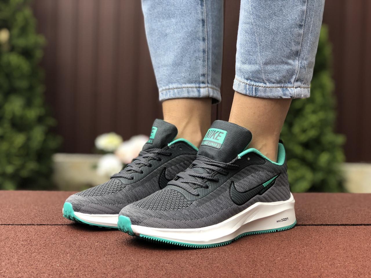 Женские кроссовки Nike Flyknit Lunar 3 grey/mint. [Размеры в наличии: 36,38]