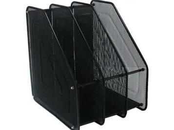 Лоток для бумаг вертикальный металлический 3 отделения 3004-3 черный