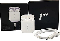 Беспроводные сенсорные Bluetooth наушники в кейсе TWS i100 5,0 USB Type-C с Беспроводной Зарядкой Белые
