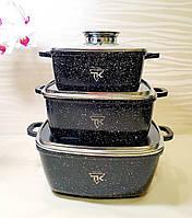 Набор квадратной посуды с гранитным покрытием 3 предмета BN-302 / Набор квадратных кастрюль BN-302