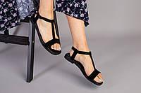 Женские босоножки, на низком ходу,черные замшевые, фото 1