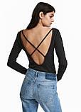 Черная однотонная блузка H&M демисезонная, фото 2