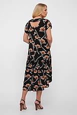 Простое летнее платье для полных из штапеля черное Герда, фото 3