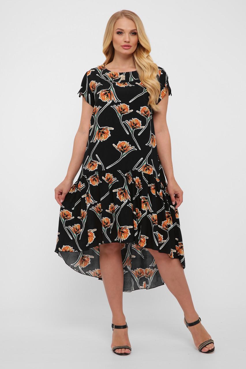 Простое летнее платье для полных из штапеля черное Герда
