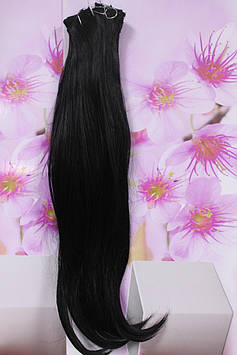 Волосся на заколках штучні термоволокно прямі чорні