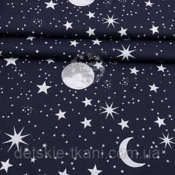 """Тканина полікотон """"Небо з зірками"""" на темно-синьому тлі, ширина 220 см"""