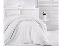 Белое постельное белье из сатина Евро 200х220 Турция (ТМ ARAN CLASY) Beyaz