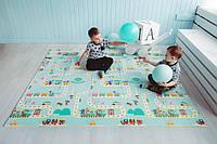 Двухсторонний складной ПВХ коврик  Дорожки/Животные большой  размер 1,8 на 2 м