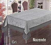 Прямоугольная велюровая скатерть 160х220 с жаккардовым кружевом серая  NAZENDE Gri Maison Royale Турция