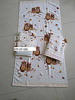 Белое банное хлопковое/махровое полотенце Совушки  70х140 ( TM Koloco ), Китай