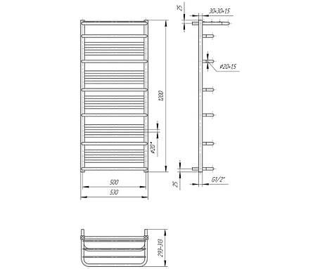 Полотенцесушитель водяній Преміум Люксор 1200x530/500, фото 2