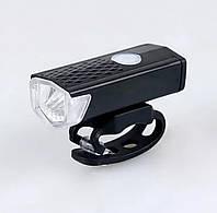 "Передняя велофара с аккумулятором ,яркий велосипедный LED фонарь ""Power Light"" на руль, 300 lumens USB"