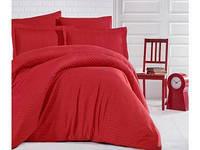 Комплект постельного белья Евро из страйп сатина 200х220 (ТМ ARAN CLASY) Kirmizi, Турция