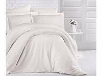 Двуспальное постельное белье Стрип-сатин 200х220 (ТМ ARAN CLASY) Krem, Турция