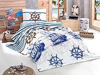 Полуторное постельное белье с вафельным покрывалом  160х240 PIKE (TM ARAN CLASY), MARINE ТУРЦИЯ