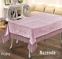 Велюровая скатерть с жаккардовым рисунком и кружевами 160х220 цвет пудра  NAZENDE Pudra, Maison Royale Турция