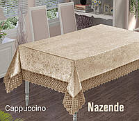 Кружевная скатерть велюровая на гостинный стол 160х220  цвет капучино  NAZENDE Cappuccino, Maison Royal Турция