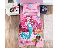 Хлопковое постельное белье с вафельным покрывалом для девочьки 160х240 PIKE (TM ARAN CLASY),DELFIN ТУРЦИЯ
