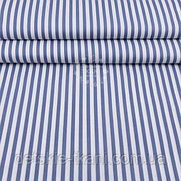 Тканина полікотон з сіро-блакитною смужкою, ширина 220 см
