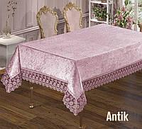 Прямоугольная скатерть велюр-жаккард на кухонный стол 160х220  ANTIK Pudra,  Maison Royale Турция
