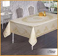 Прямоугольная скатерть тефлоновая на праздничный стол цвет белый  Maison Royale Sude 160х220  Beyaz, Турция