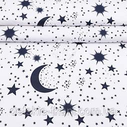 """Тканина полікотон """"Небо з зірками"""" синій на білому тлі, ширина 220 см"""