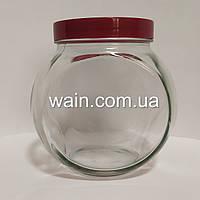 """Банка стеклянная 1730 мл """"Sweet New"""" Everglass для хранения сыпучих и круп с бордовой крышкой"""