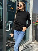 """Женская трикотажная кофта черного цвета с длинным рукавом и вышивкой буквы """"М"""""""
