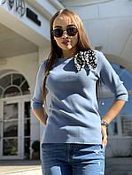 Женская кофта рубчик синего цвета трикотаж с рукавом 3/4 и завязкой на воротнике