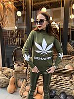 Мягкий женский свитер с небольшим горлом цвета хаки,  размер oversize