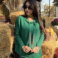 Женский вязанный свитер свободного кроя с широким горлом и красивыми шнурками в размерах S/M, L/XL.