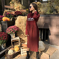Жіноча бавовняна сукня батал міді бордового кольору з довгим рукавом Lives (10872AZ) Італія