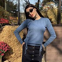 Женский свитер с декоративными полосками из страз и красивой спинкой, 5 расцветок. Размеры: S/M, L/XL