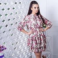 Шифонова літня сукня квітковий принт Made in Italy 1550 кремове