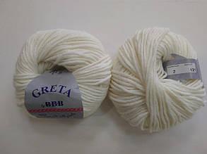 Пряжа для вязания ВВВ Greta Гретта молочный 2
